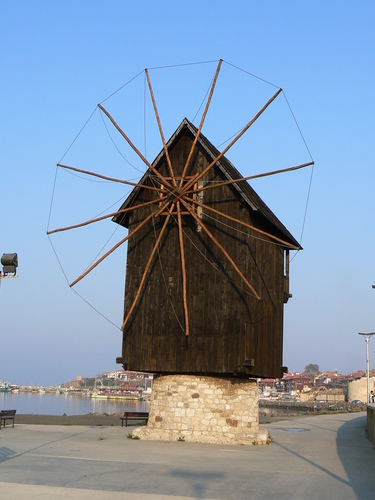 Traditional old Windmill in Nesebar
