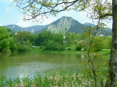 One of the many Smolyan lakes with a view of the Snejanka No4 Ski Lift in the distance