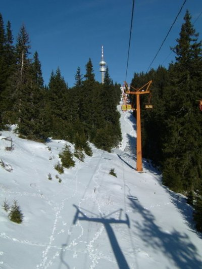 On the No4 Chair Lift with the Snejanka Tower ahead