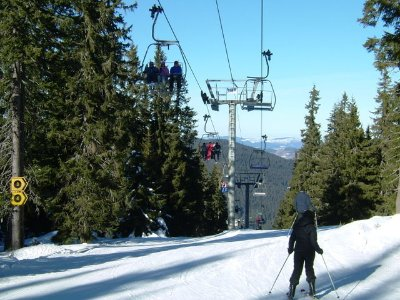 Heading for the two black ski runs under the Malina chair lift