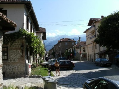 A Street in Bansko with the Pirin Mountain Backdrop
