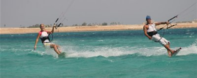 Kitesurfing off the beach in Nabq